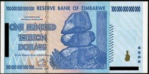 100 trillion dollar Zimbabwean bill